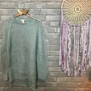 sundance // pale sage green open knit sweater l
